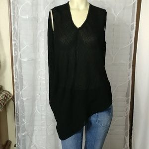 HELMUT LANG Black Asymmetrical Blouse